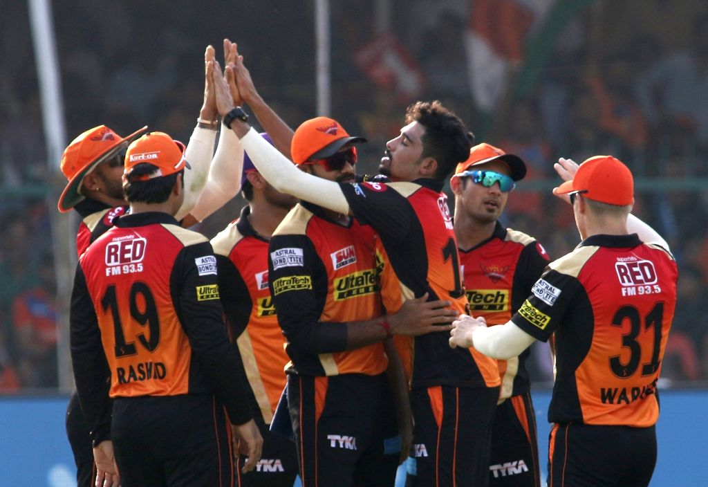 Mohammed Siraj of Sunrisers Hyderabad celebrates fall of Suresh Raina's wicket during an IPL 2017 match between Gujarat Lions and Sunrisers Hyderabad at Green Park in Kanpur on May 13, 2017.