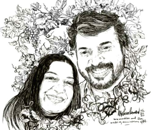 Mohanlal posts sweet sketch of Mammootty and wife on their wedding anniversary.