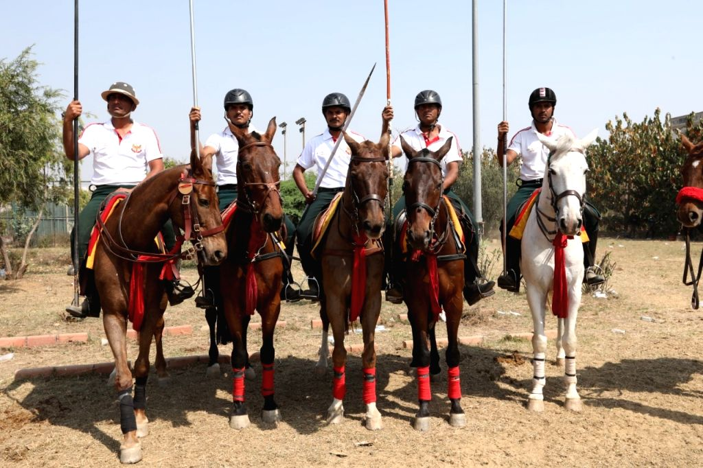 Mohit Kumar of the Indian Navy bagged gold in the Rings and Peg Tent Pegging event of the National Equestrian Championship here on Thursday. - Mohit Kumar
