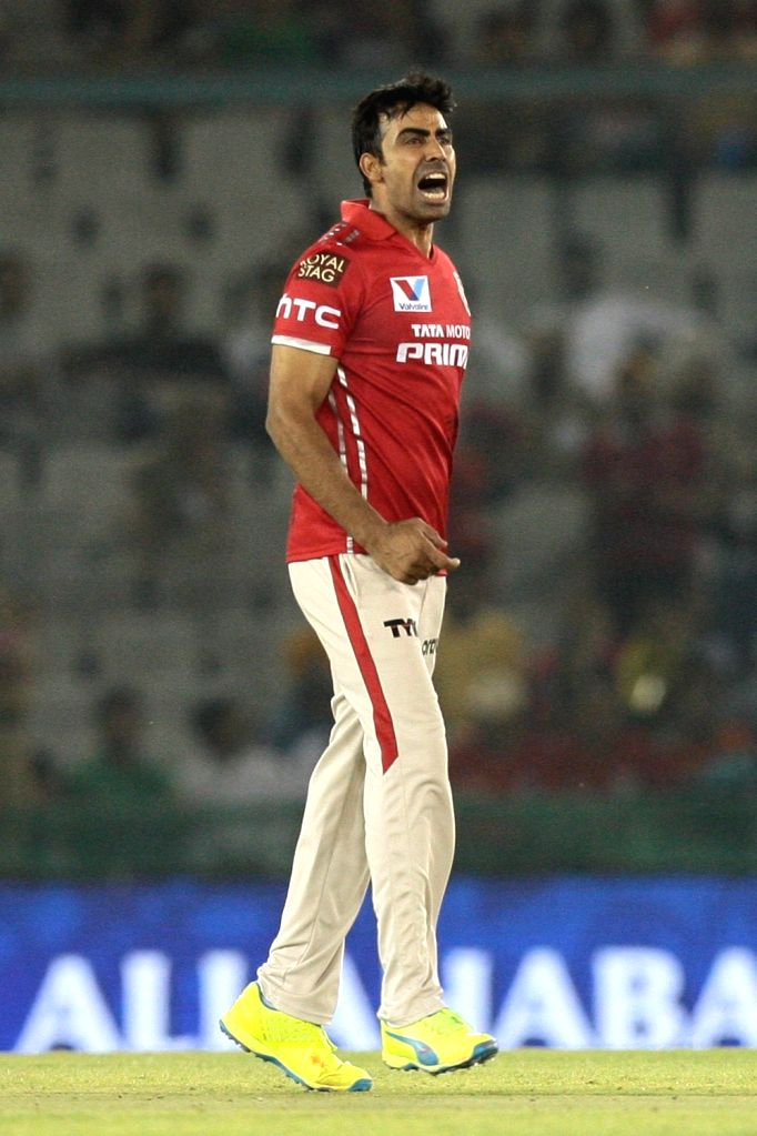 Mohit Sharma of Kings XI Punjab during an IPL match between Kings XI Punjab and Kolkata Knight Riders at Punjab Cricket Association IS Bindra Stadium in Mohali on April 19, 2016. - Mohit Sharma