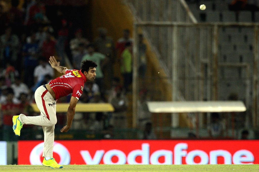 Mohit Sharma of Kings XI Punjab in action during an IPL match between Kings XI Punjab and Kolkata Knight Riders at Punjab Cricket Association IS Bindra Stadium in Mohali on April 19, 2016. - Mohit Sharma