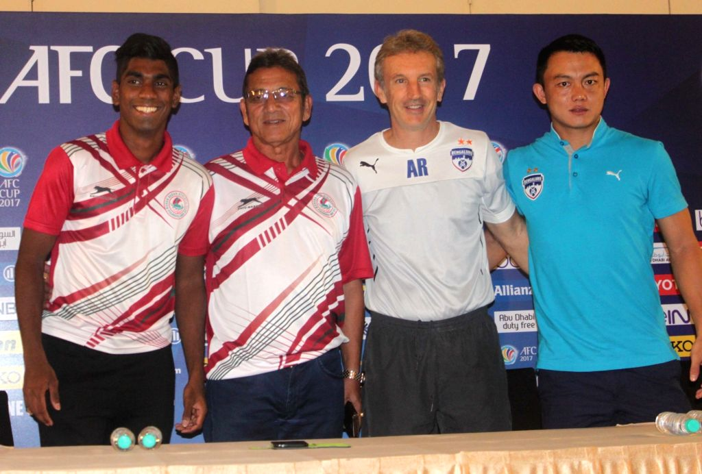 Mohun Bagan coach Sanjoy Sen, Raynier Fernandes, Bengaluru FC coach Albert Roca and Lalthuammawia Ralte during a press conference regarding AFC Cup in Kolkata on May 16, 2017. - Raynier Fernandes