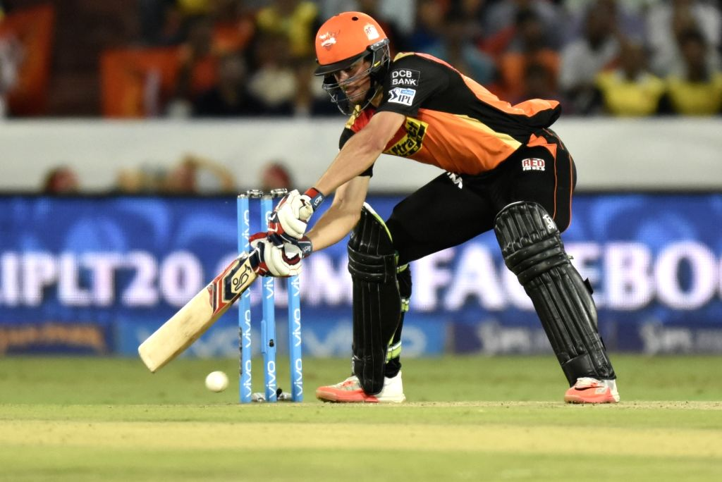 Moises Henriques of Sunrisers Hyderabad in action during an IPL match between Sunrisers Hyderabad and Mumbai Indians at Rajiv Gandhi International Stadium in Hyderabad, on April 18, 2016.
