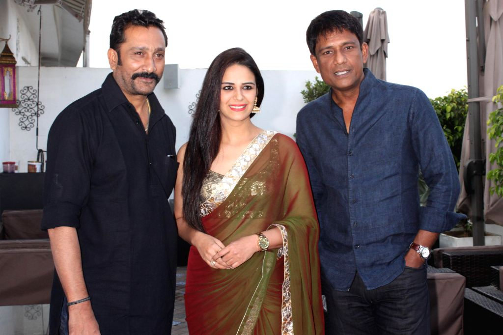 "Mona Singh,Mukesh Tiwari and Adil Hussain at a press meet for upcoming film ""'ZED PLUS'"" in New Delhi on November 21,2014 - Singh"