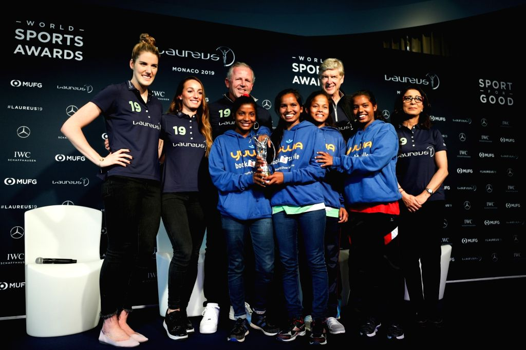 MONACO, Feb. 18, 2019 - Awarding guests pose with Yuwa programme participants at the Laureus Sport for Good Award Winner Presentation in Monaco, Feb. 17, 2019. One day ahead of 2019 Laureus World ...