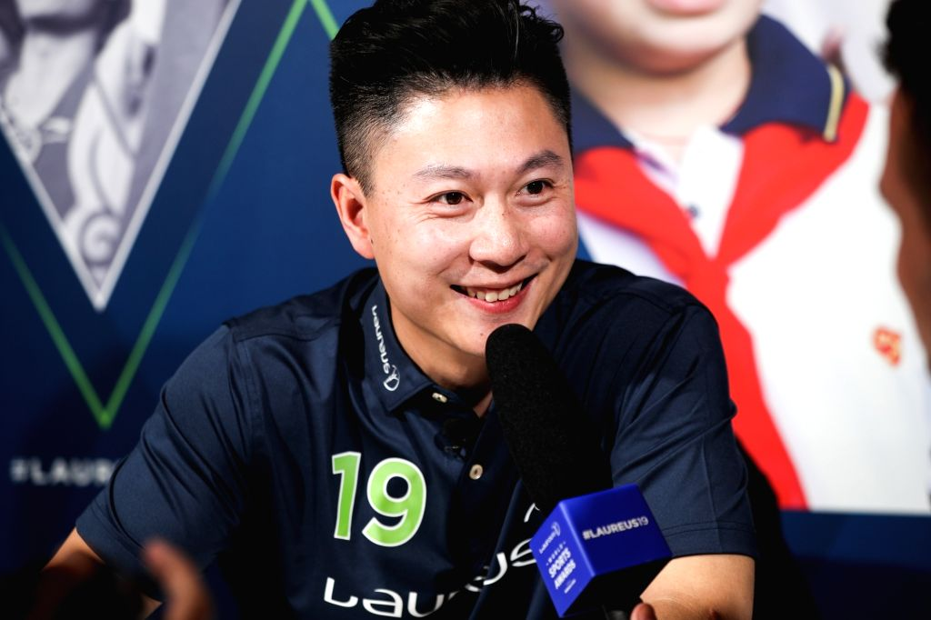 MONACO, Feb. 18, 2019 - Laureus Academy member, Chinese gymnast Li Xiaopeng receives an interview in Monaco, Feb. 17, 2019, one day ahead of 2019 Laureus World Sports Awards ceremony.