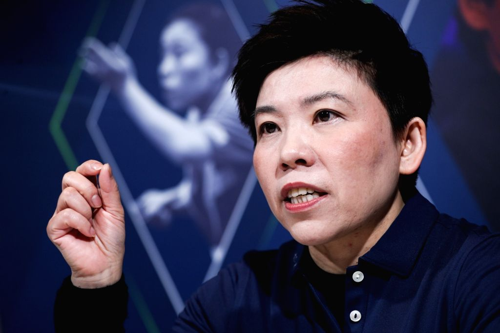 MONACO, Feb. 18, 2019 - Laureus Academy member, former Chinese table tennis player Deng Yaping receives an interview in Monaco, Feb. 17, 2019, one day ahead of 2019 Laureus World Sports Awards ...