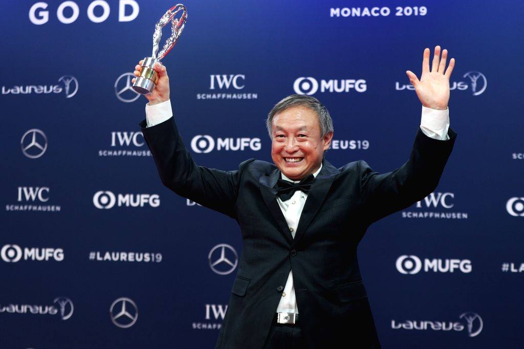 MONACO, Feb. 19, 2019 - Chinese climber Xia Boyu shows the trophy after winning the Laureus Sporting Moment of the Year after the 2019 Laureus World Sports Awards ceremony in Monaco, Feb. 18, 2019. ...