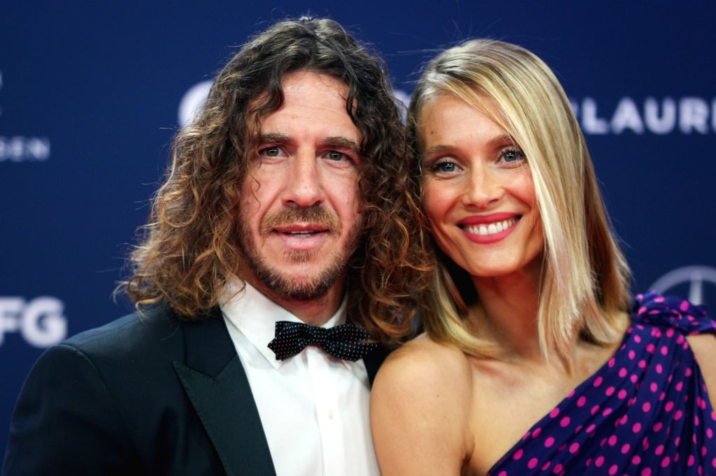 MONACO, Feb. 19, 2019 - Spainish football player Carles Puyol and his wife Vanessa Lorenzo pose on the red carpet at the 2019 Laureus World Sports Awards ceremony in Monaco, Feb. 18, 2019. The 2019 ...