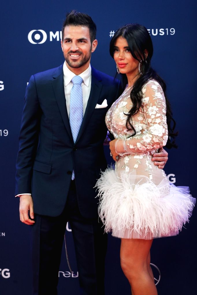 MONACO, Feb. 19, 2019 - Spainish football player Cesc Fabregas and his wife Daniella Semaan pose on the red carpet at the 2019 Laureus World Sports Awards ceremony in Monaco, Feb. 18, 2019. The 2019 ...