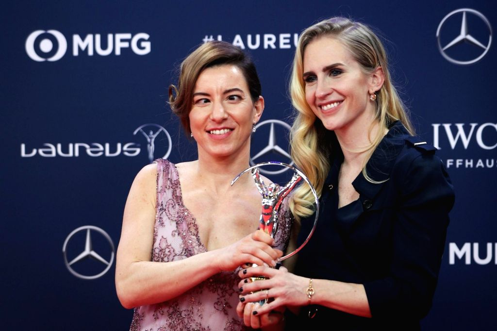 MONACO, Feb. 19, 2019 - Sportsperson of the Year with a Disability winner, Slovakian skier Henrieta Farkasova (L) and her guide Natalia Subrtova show the trophy after the 2019 Laureus World Sports ...
