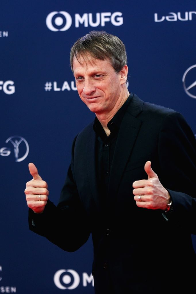 MONACO, Feb. 19, 2019 - US skateboarder Tony Hawk poses on the red carpet at the 2019 Laureus World Sports Awards ceremony in Monaco, Feb. 18, 2019. The 2019 Laureus World Sports Awards were unveiled ...