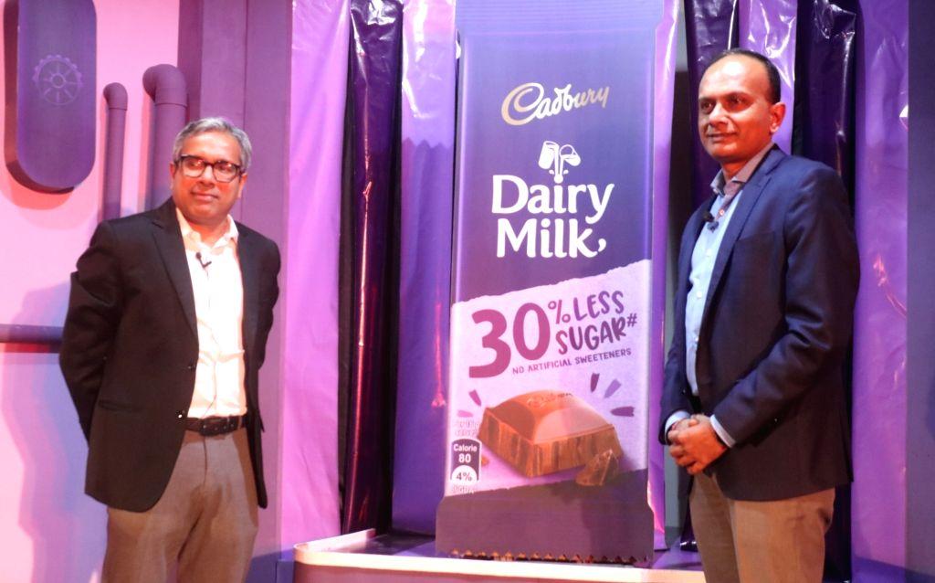Mondelez International India MD Deepak Iyer and Director Marketing (Chocolates) Anil Viswanathan at the launch of Cadbury Dairy Milk's new range of chocolates, in New Delhi on June 10, ...