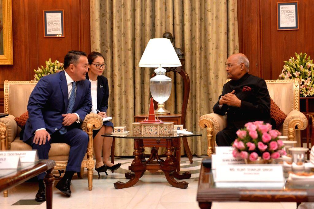 Mongolian President Khaltmaagiin Battulga calls on President Ram Nath Kovind at Rashtrapati Bhavan in New Delhi on Sep 20, 2019. - Nath Kovind
