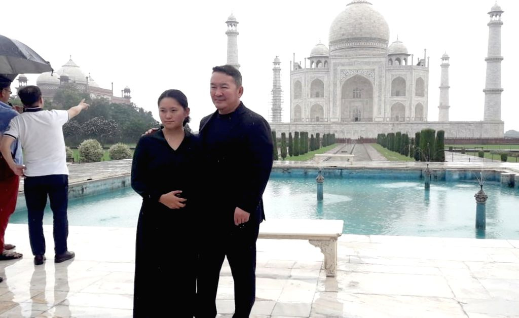 Mongolian President Khaltmaagiin Battulga during his visit to the Taj Mahal in Agra on Sep 21, 2019.