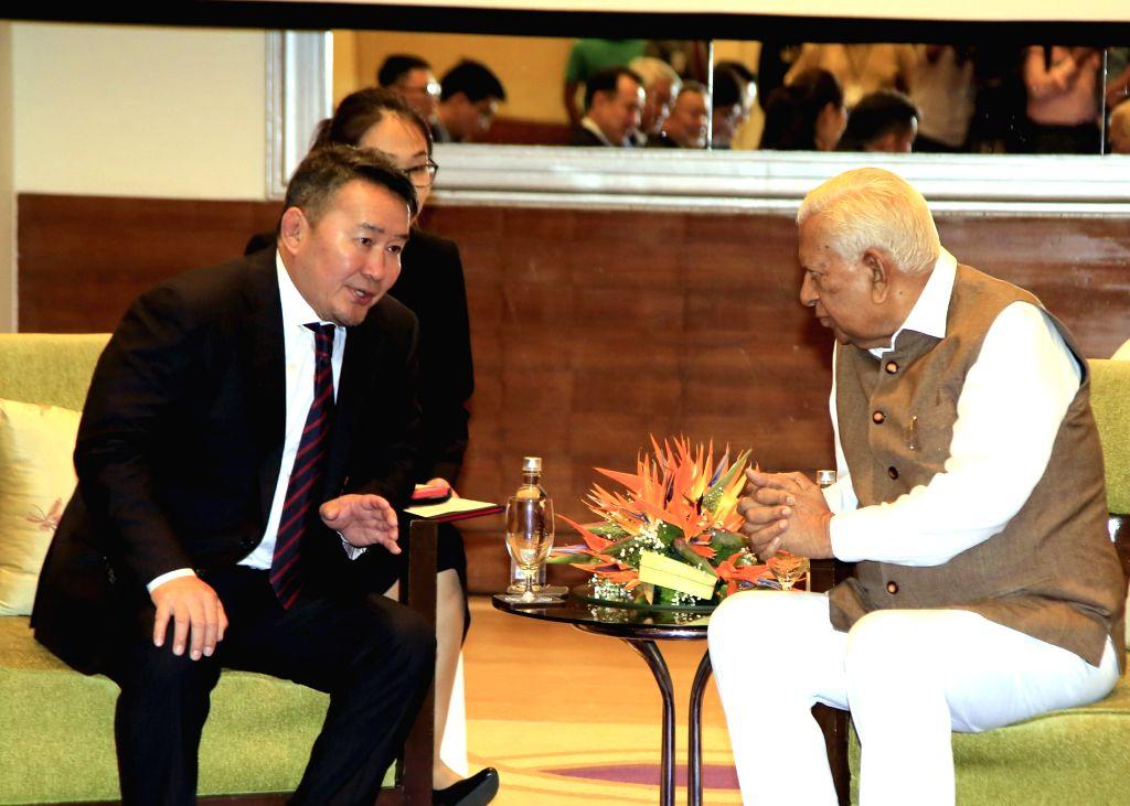 Mongolian President Khaltmaagiin Battulga meets Karnataka Governor Vajubhai Vala in Bengaluru on Sep 22, 2019.