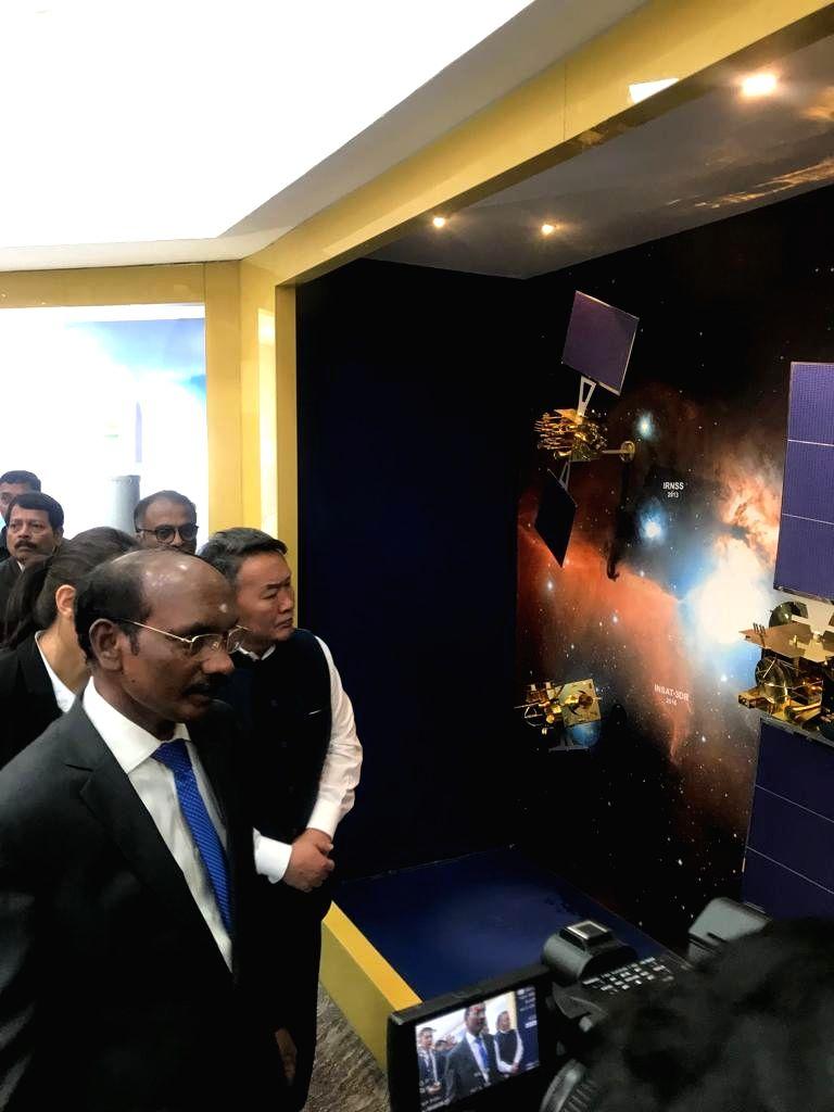 Mongolian President Khaltmaagin Battulga with ISRO chief K. Sivan during his visit to the ISRO Headquarters, Antariksh Bhavan in Bengaluru, on Sep 23, 2019. During his visit, the Mongolian ...