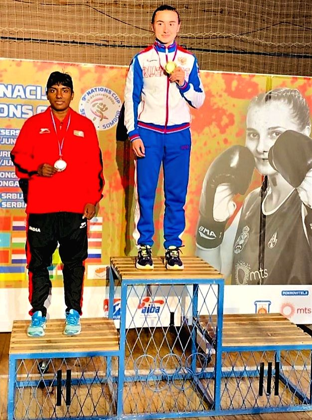 Monika won silver medal in 48 Kg category.