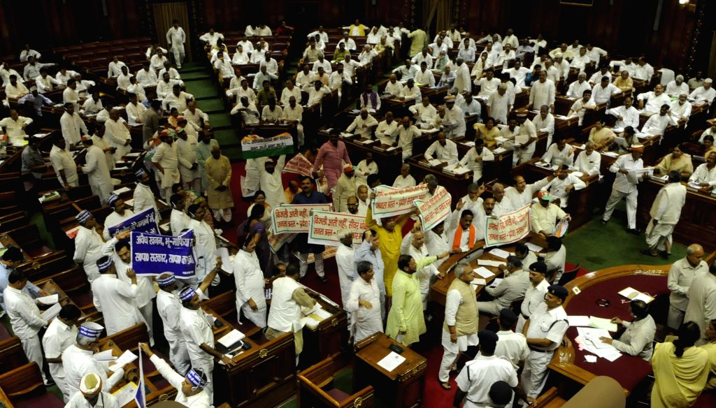 Monsoon session of Uttar Pradesh assembly underway in Lucknow, on Aug 17, 2015.