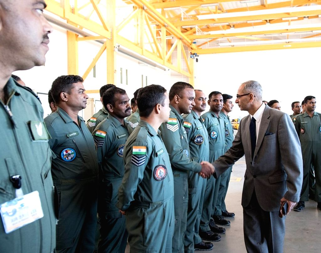 Mont-de-Marsan: Ambassador of India to France Vinay Mohan Kwatra interacts with the IAF contingent during Ex Garuda-VI held at Mont-de-Marsan, France.