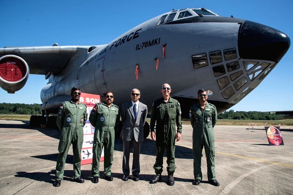Mont-de-Marsan: IAF Vice Chief of Air Staff, Air Marshal RKS Bhadauria, Ambassador of India to France Vinay Mohan Kwatra and Chief of Staff of the French Air Force General Philippe Lavigne during Ex ...