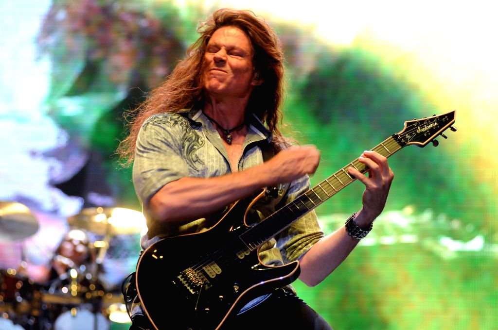 """Chris Broderick, guitarrist of U.S. heavy metal band """"Megadeth"""", participates in a concert of the """"Youthanasia 20th Anniversary"""" tour in the"""