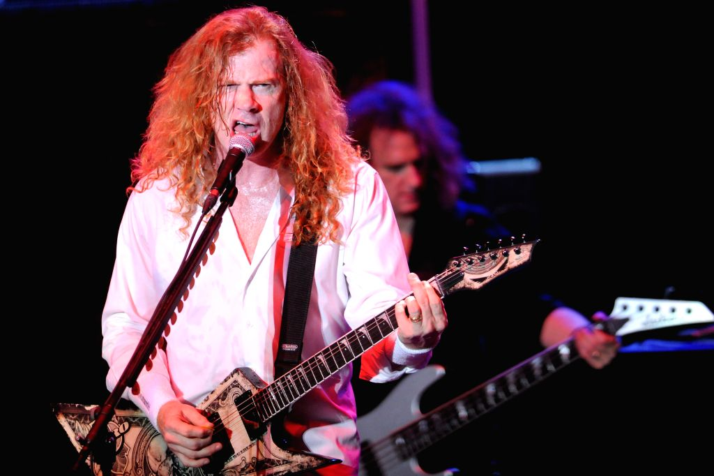 """Dave Mustaine, singer of U.S. heavy metal band """"Megadeth"""", participates in a concert of the """"Youthanasia 20th Anniversary"""" tour in the ..."""