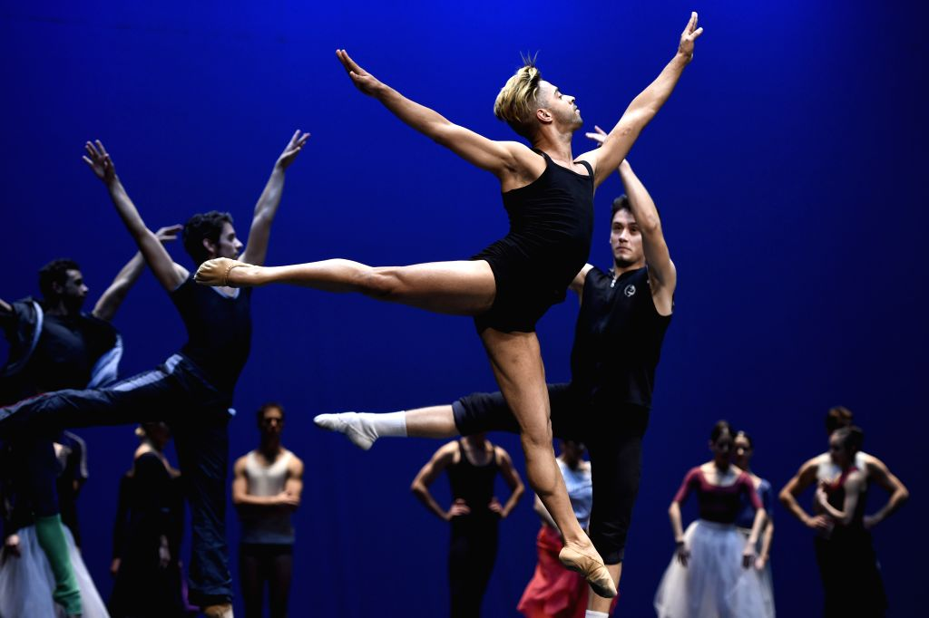 "Dancers take part in the rehearsal for ""Giselle"" choreographed by Julio Bocca in the Sodre National Auditorium, in Montevideo, capital of Uruguay, on ..."