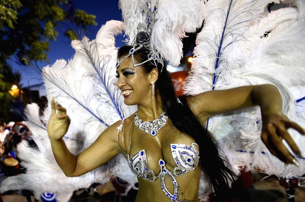 A dancer participates during the Call Parade in Montevideo, capital of Uruguay, on Feb. 5, 2015. The parade with the participation of at least 40 casts, is made ..
