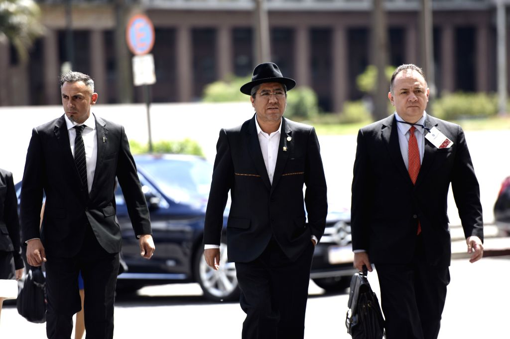 MONTEVIDEO, Feb. 8, 2019 - Bolivia's Foreign Minister Diego Pary (C) arrives for a meeting of the International Contact Group on Venezuela, at the Executive Tower, in Montevideo, capital of Uruguay, ... - Diego Pary