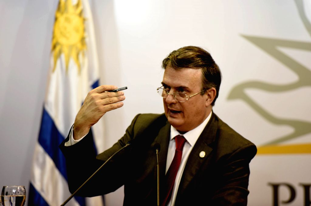 MONTEVIDEO, Feb. 8, 2019 - Mexican Foreign Minister Marcelo Ebrard speaks during a press conference after a meeting of the International Contact Group on Venezuela, at the Executive Tower, in ... - Marcelo Ebrard