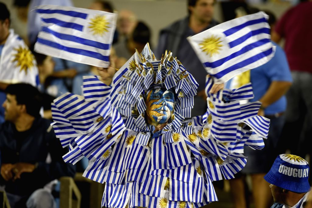 MONTEVIDEO, March 24, 2017 - A fan of Uruguay reacts during the match for the South American qualifiers for the Russia 2018 FIFA World Cup against Brazil, held in the Centenario stadium, Montevideo, ...