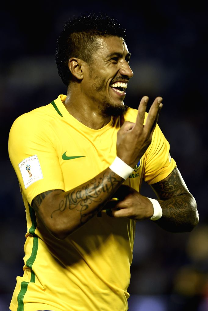 MONTEVIDEO, March 24, 2017 - Brazil's Paulinho celebrates after scoring during the match for the South American qualifiers for the Russia 2018 FIFA World Cup against Uruguay, held in the Centenario ...