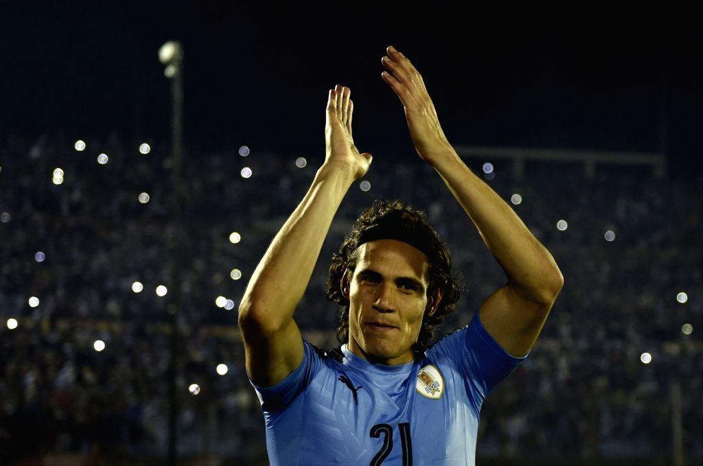MONTEVIDEO, Oct. 11, 2017 - Uruguay's Edinson Cavani celebrates after the Russia 2018 FIFA World Cup qualifier match against Bolivia, at Centenario stadium, in Montevideo, Uruguay, on Oct. 10, 2017. ...