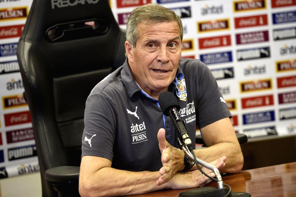 Montevideo (Uruguay): Oscar Washington Tabarez, head coach of Uruguay's national soccer team, attends a press conference at the Uruguay Celeste complex in Montevideo, capital of Uruguay, on Nov. 10, .