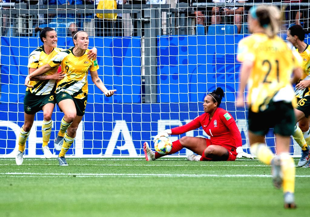 MONTPELLIER, June 14, 2019 - Caitlin Foord (2nd L) of Australia celebrates after scoring during the group C match between Brazil and Australia at the 2019 FIFA Women's World Cup in Montpellier, ...