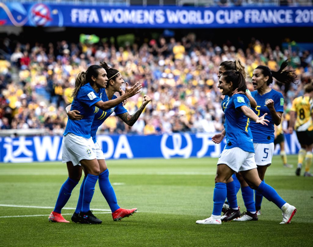 MONTPELLIER, June 14, 2019 - Players of Brazil celebrate scoring during the group C match between Brazil and Australia at the 2019 FIFA Women's World Cup in Montpellier, France on June 13, 2019.