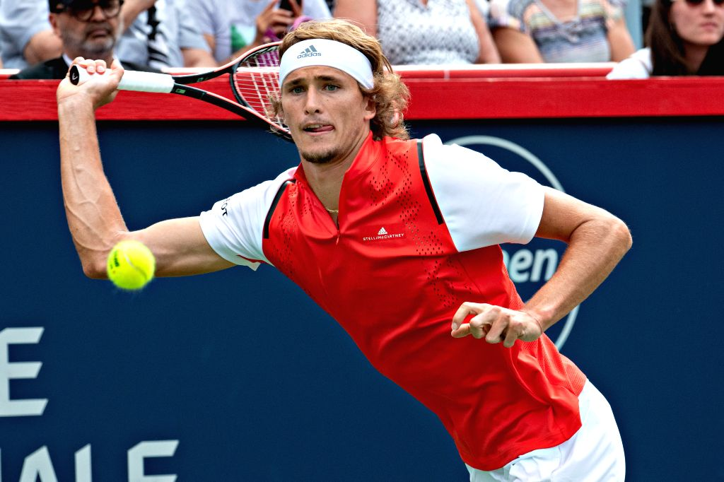 MONTREAL, Aug. 10, 2019 - Alexander Zverev of Germany returns the ball during the men's singles quarterfinal match between Karen Khachanov of Russia and Alexander Zverev of Germany at the 2019 Rogers ...