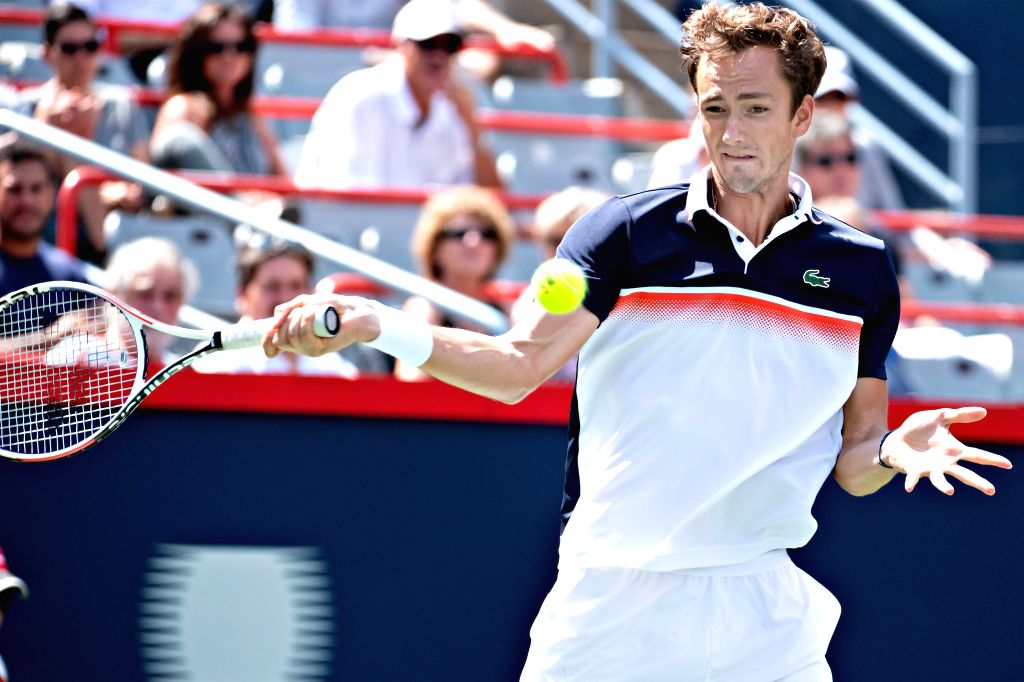 MONTREAL, Aug. 10, 2019 - Daniil Medvedev of Russia returns the ball during the men's singles quarterfinal match between Daniil Medvedev of Russia and Dominic Thiem of Austria at the 2019 Rogers Cup ...