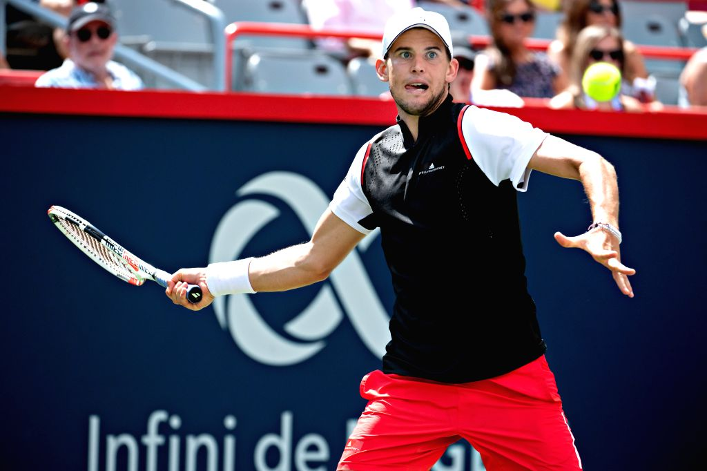 MONTREAL, Aug. 10, 2019 - Dominic Thiem of Austria returns the ball during the men's singles quarterfinal match between Daniil Medvedev of Russia and Dominic Thiem of Austria at the 2019 Rogers Cup ...