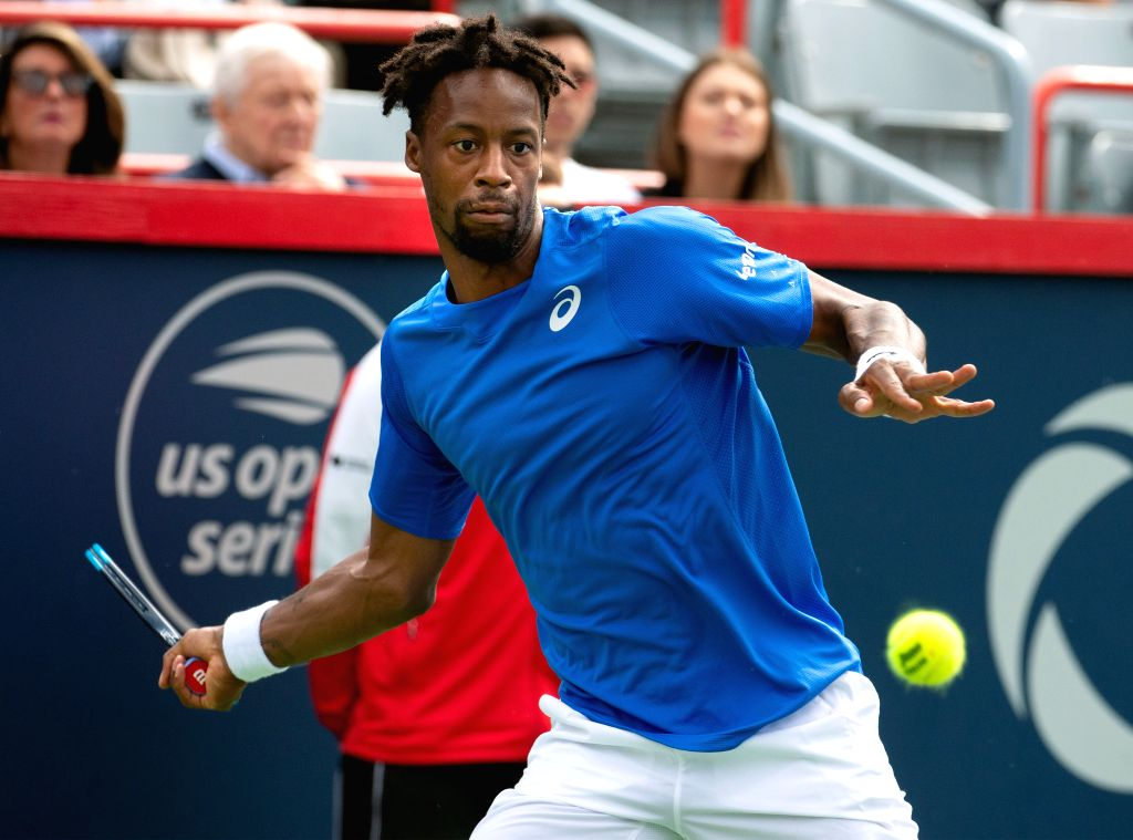 MONTREAL, Aug. 11, 2019 - Gael Monfils of France returns the ball during the men's singles quarterfinal match between Gael Monfils of France and Roberto Bautista Agut of Spain at the 2019 Rogers Cup ...