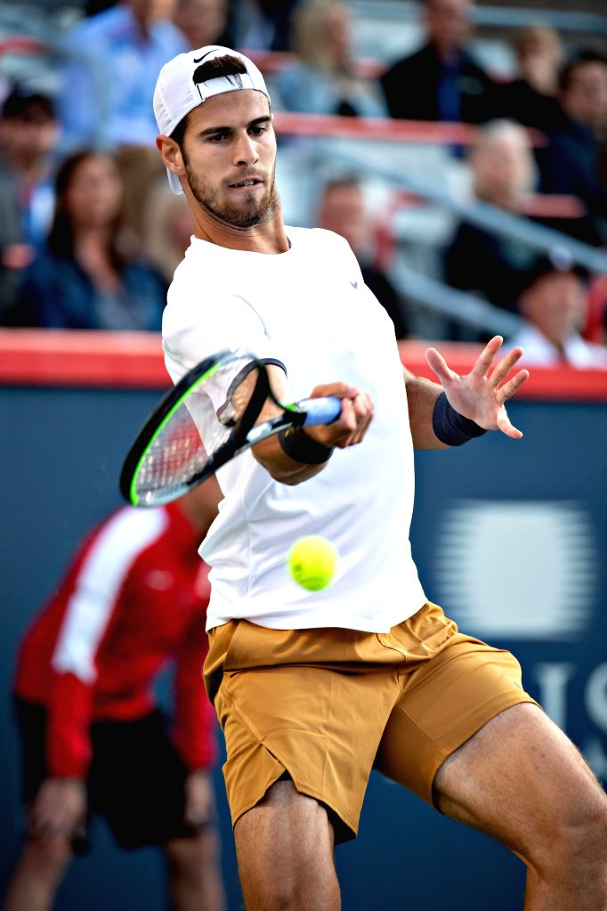 MONTREAL, Aug. 11, 2019 - Karen Khachanov returns the ball during the men's singles semifinal match between Daniil Medvedev of Russia and Karen Khachanov of Russia at the 2019 Rogers Cup in Montreal, ...