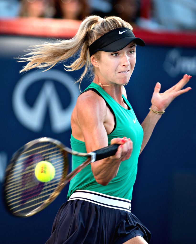MONTREAL, Aug. 12, 2018 - Elina Svitolina of Ukraine returns the ball to Sloane Stevens of the United States during the semifinal match of women's singles at the 2018 Rogers Cup in Montreal, Aug. 11, ...