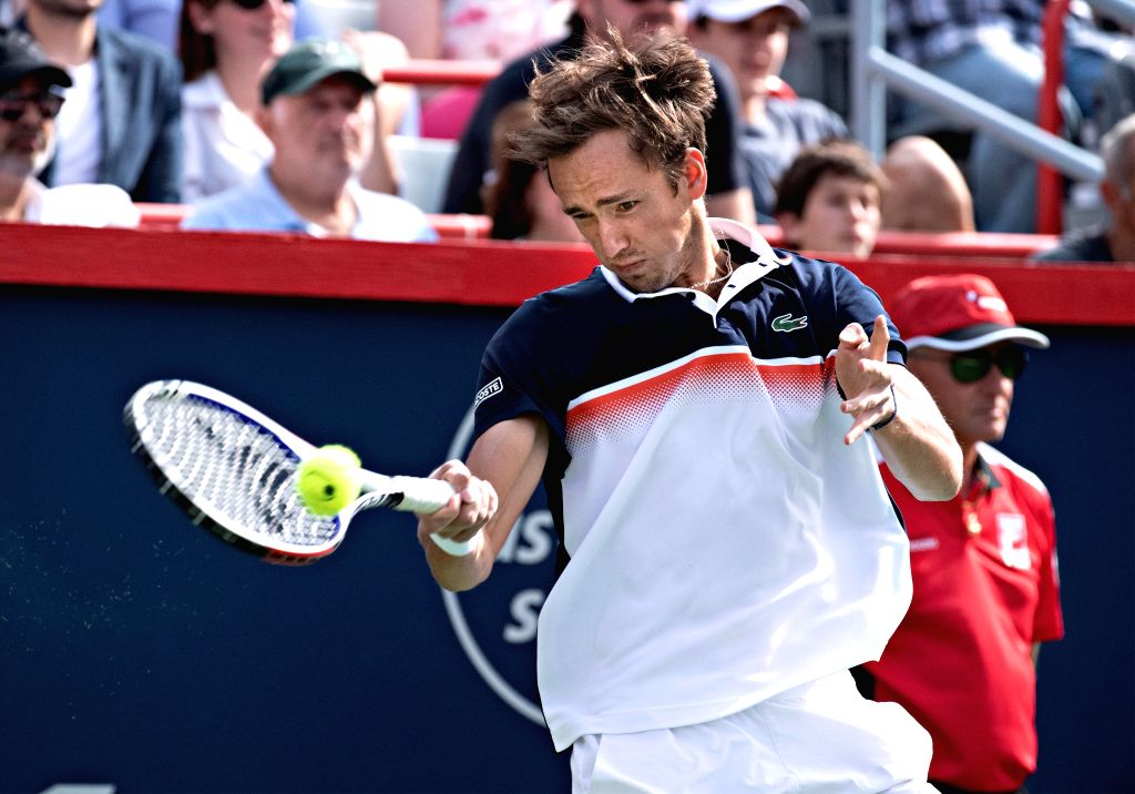 MONTREAL, Aug. 12, 2019 - Daniil Medvedev of Russia returns the ball to Rafael Nadal of Spain during the final of the Rogers Cup tennis tournament in Montreal, Canada, Aug. 11, 2019.