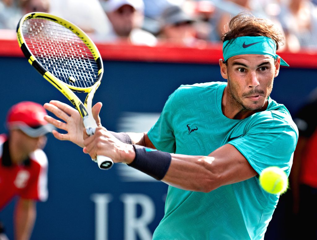 MONTREAL, Aug. 12, 2019 - Rafael Nadal of Spain returns the ball to Daniil Medvedev of Russia during the final of the Rogers Cup tennis tournament in Montreal, Canada, Aug. 11, 2019.