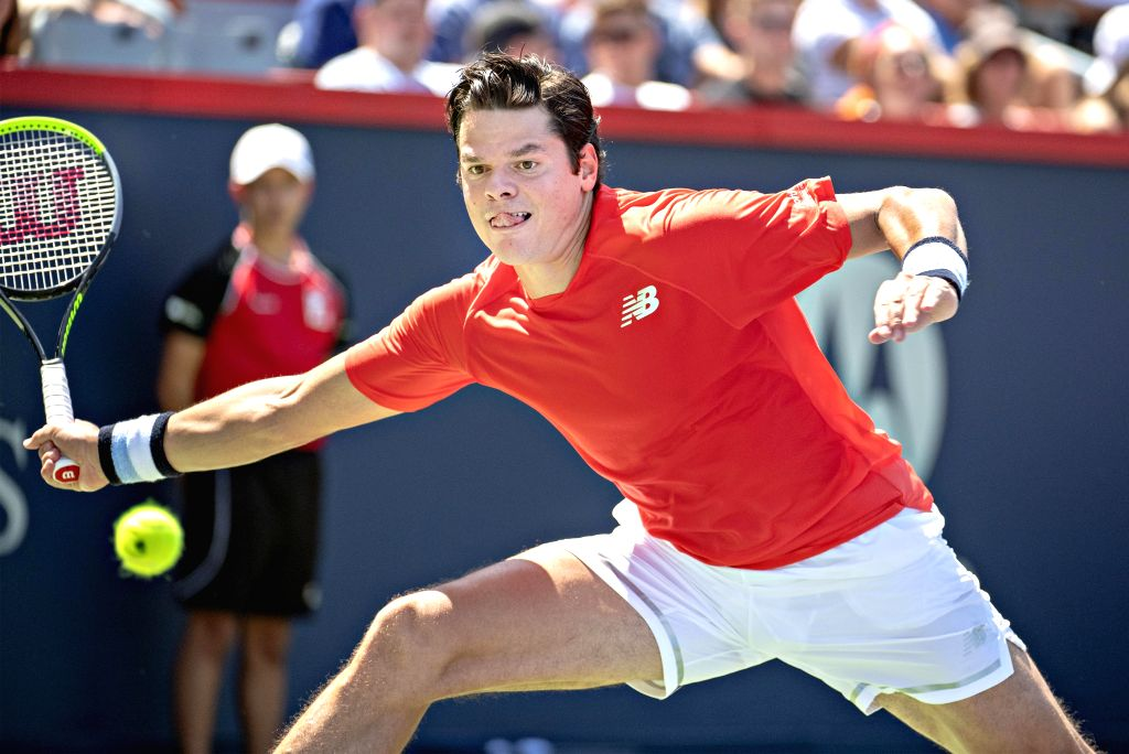 MONTREAL, Aug. 6, 2019 - Milos Raonic of Canada returns the ball during the first round of men's singles match against Lucas Pouille of France at the 2019 Rogers Cup in Montreal, Canada, Aug. 5, 2019.