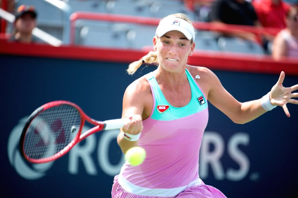 MONTREAL, Aug. 7, 2018 - Timea Babos of Hungary hits a return during the first round of women's singles match against Julia Goerges of Germany at the 2018 Rogers Cup in Montreal, Canada, Aug. 6, ...