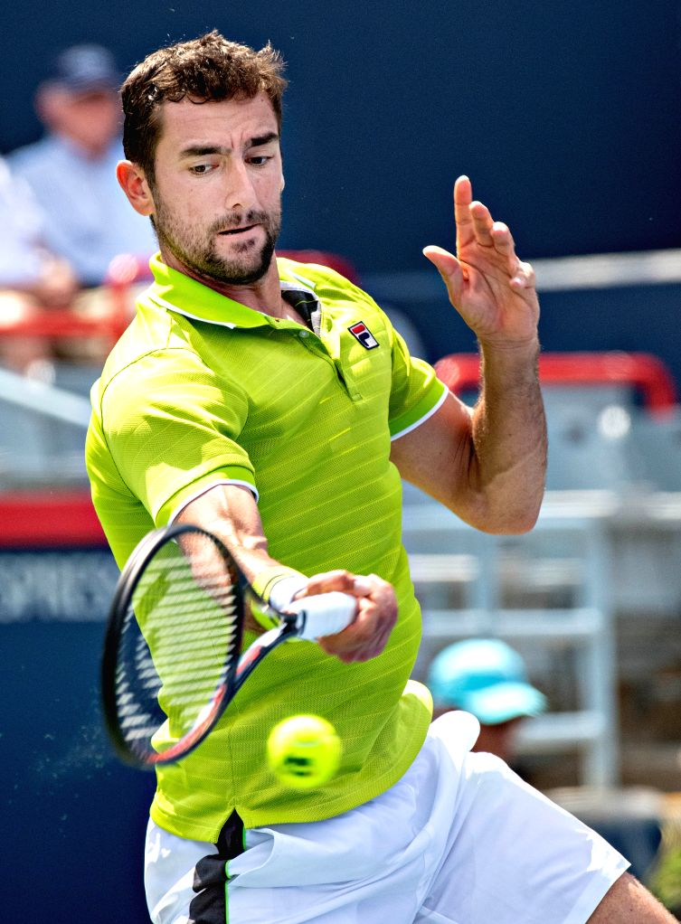 MONTREAL, Aug. 7, 2019 - Marin Cilic of Croatia returns the ball during the first round of men's singles match against Bradley Klahn of the United States at the 2019 Rogers Cup in Montreal, Canada, ...