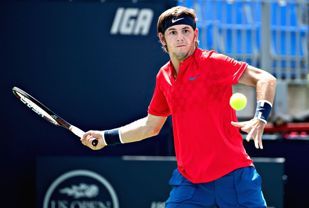 MONTREAL, Aug. 8, 2017 - Jared Donaldson of the United States hits a return during the men's singles first round match against Lucas Pouille of France at the 2017 Rogers Cup in Montreal, Canada, Aug. ...