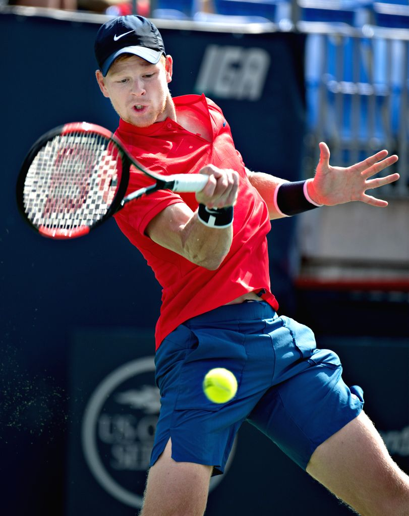 MONTREAL, Aug. 8, 2017 - Kyle Edmund of Britain hits a return during the men's singles first round match against David Ferrer of Spain at the 2017 Rogers Cup in Montreal, Canada, Aug. 7, 2017. Ferrer ...
